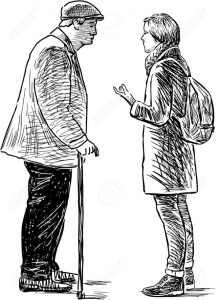 Young Person Talking to An Older Person
