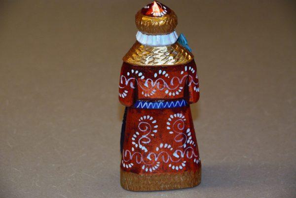 Rear details of red coat and blue belt St. Nicholas Figurine