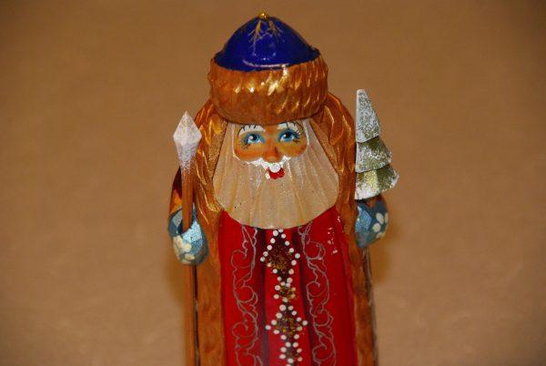 St. Nicholas Christmas Figurine holding staff and tree