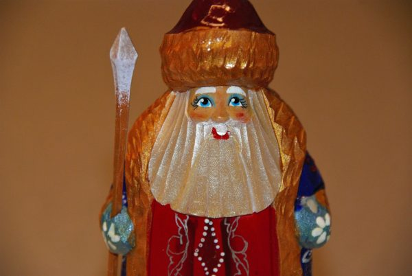 Smiling facial photo of a St. Nicholas Christmas Figurine