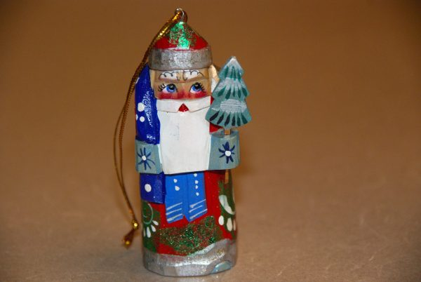 St. Nicholas Christmas Figurine with tree and blue sack
