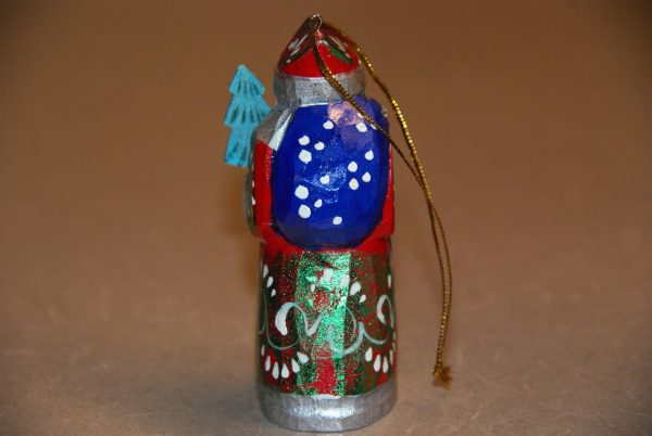 Blue bag on a St. Nicholas Christmas Figurine