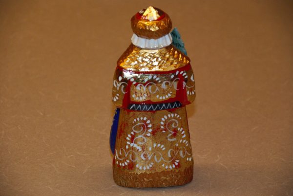 Gold painted wooden St. Nicholas Christmas Figurine