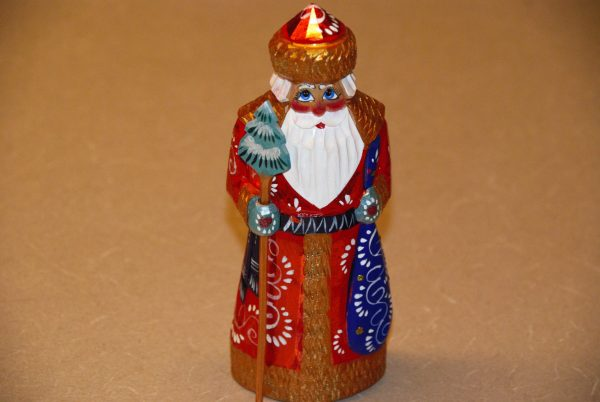 Front view of red and gold St. Nicholas Christmas Figurine