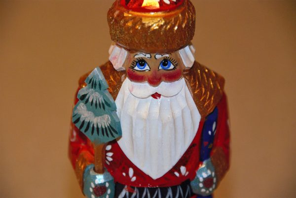 Up close photo of St. Nicholas Christmas Figurine face