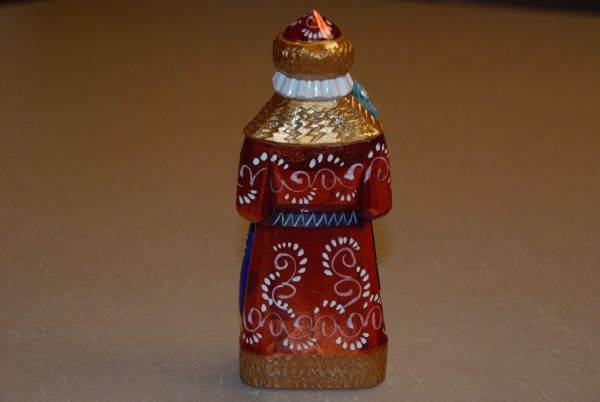St. Nicholas Figurine painted with red, gold and blue