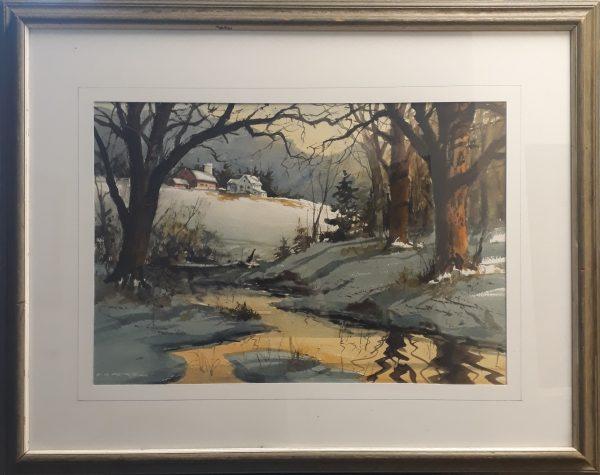 Framed Watercolor by Harold Wind